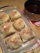 Apple dumplings ready for cinnamon caramel sauce