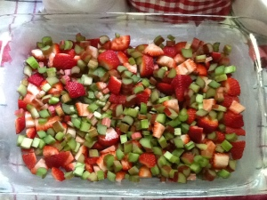 Rhubarb and strawberry in dish
