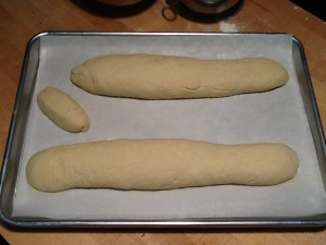 Dough shaped into loaves