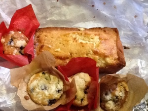 Lemon loaf and blueberry muffins
