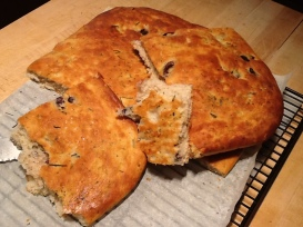 Olive Rosemary Foccacia showing texture