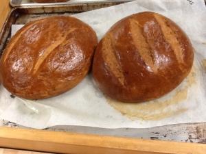 Swedish limpa bread baked-big loaves